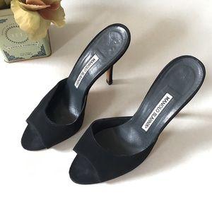 Manolo Blahnik Astuta Black Suede Mule Heel Sandal